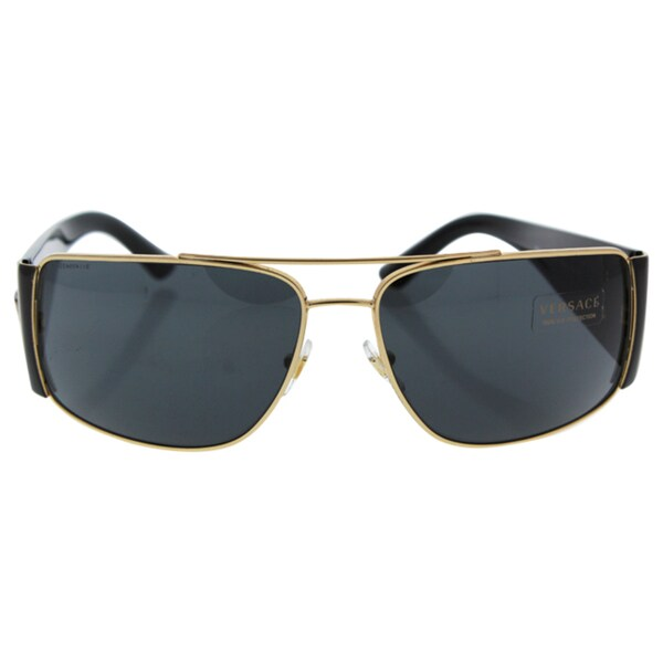 d6a2e144e3b Shop Versace Men s VE2163 100287 Gold Metal Rectangle Sunglasses ...