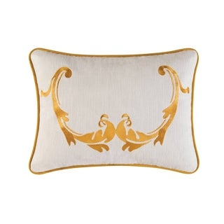 Florence Gold/Off-white Linen/Cotton/Polyester 16-inch x 12-inch Embroidered Throw Pillow