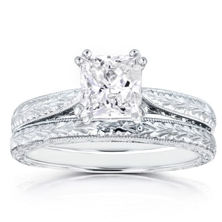 Annello by Kobelli 14k White Gold Certified 1 1/2ct TDW Princess Diamond Antique Cathedral Bridal Se