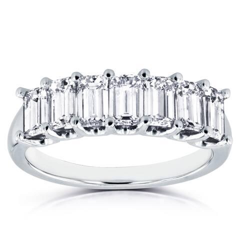 Annello by Kobelli 14k White Gold 1 3/4ct TDW Emerald Cut Diamond Semi Eternity Wedding Band