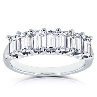 Annello 14k White Gold 1 3/4ct TDW Emerald Cut Diamond Semi Eternity Wedding Band (H-I, SI1-SI2)