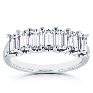 Annello by Kobelli 14k White Gold 1 3/4ct TDW Emerald Cut Diamond Semi Eternity Wedding Band