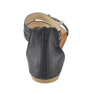 Spirit Moda Women's Faux Leather Ankle Strap Flat Sandals
