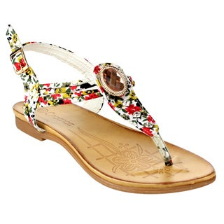 MI.IM Women's BLOSSOM-08 Multicolored Fabric Thong Sandals