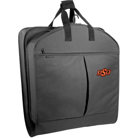 """WallyBags Black Polyester 40-inch Oklahoma State Cowboys Garment Bag with Pockets - 40""""x22""""x3"""""""