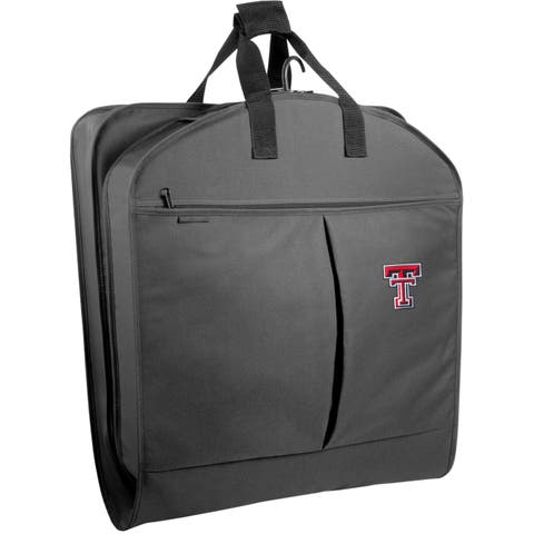 """WallyBags Black Polyester 40-inch Texas Tech Red Raiders Garment Bag with Pockets - 40""""x22""""x3"""""""