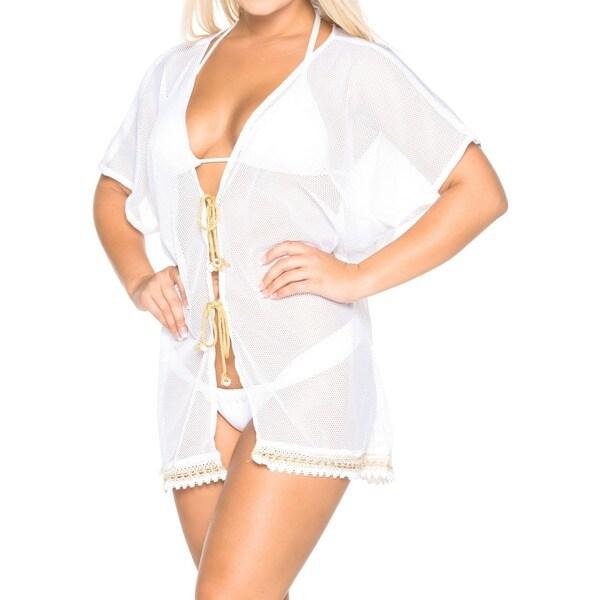 83c8e3b6b5 La Leela White NET Cardigan Beachwear Swimsuit Kimono Swimwear Women Robe Bikini  Cover up TOP