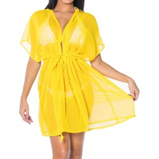 La Leela Beachwear Sheer Chiffon Solid One Size Bikini Cover up Kaftan Light Yellow