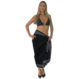 La Leela Soft Rayon Swim Embroidered Beach Hawaiian Sarong Skirt 72X42 In Black