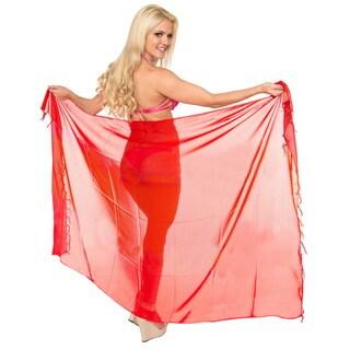 La Leela Women's Red Lightweight Sheer Chiffon 78-inch x 39-inch Beach Wrap Sarong