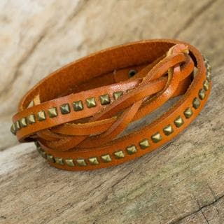 Handcrafted Brass Leather 'Tan Strong' Bracelet (Thailand)