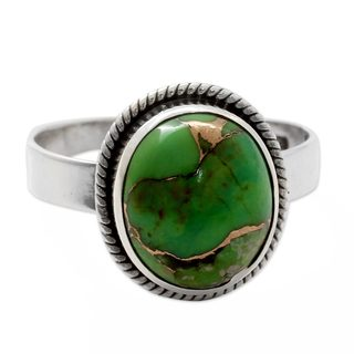 Handmade Sterling Silver 'Green Fields in Jaipur' Turquoise Ring (India)