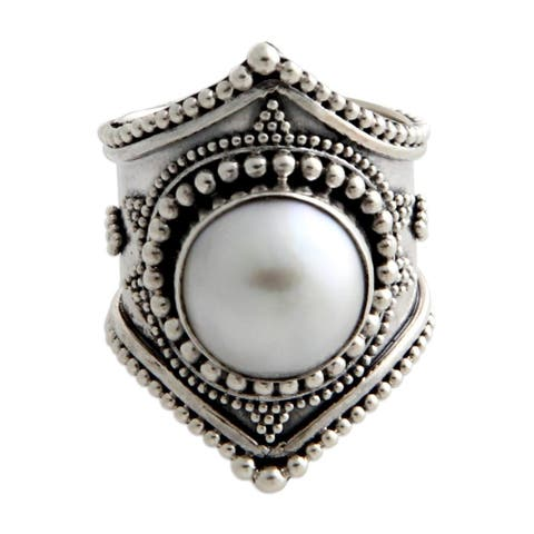 Handmade Sterling Silver 'Glowing Cloud' 12mm Pearl Ring (Indonesia)