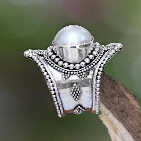 Handmade Sterling Silver 'Glowing Cloud' 12mm Pearl Ring (Indonesia)