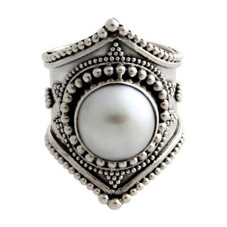 Sterling Silver 'Glowing Cloud' 12mm Pearl Ring (Indonesia)