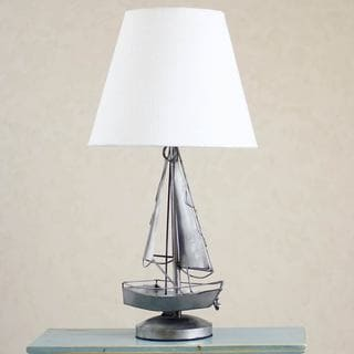 Handmade Recycled Metal 'Rustic Sailboat' Lamp (Mexico)