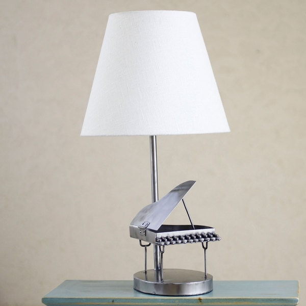 Handmade Recycled Metal 'Rustic Grand Piano' Table Lamp (Mexico)
