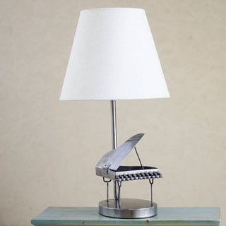 Handcrafted Recycled Metal 'Rustic Grand Piano' Table Lamp (Mexico)