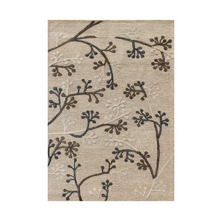 Alliyah Elegant Eastern Flavors Beige/Brown Natural Wool/Silk Floor Rug (5' x 8')