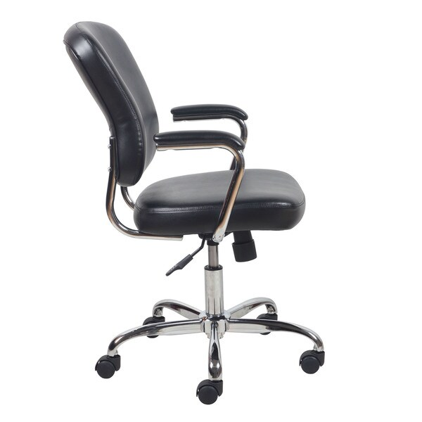 essentials by ofm swivel black leather chrome office chair with padded