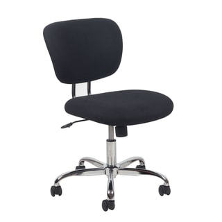 Essentials by OFM Swivel Black Upholstered Armless Chrome Task Chair