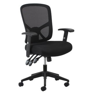 Essentials by OFM 3-paddle Ergonomic High-Back Black Mesh Task Chair with Arms and Lumbar Support