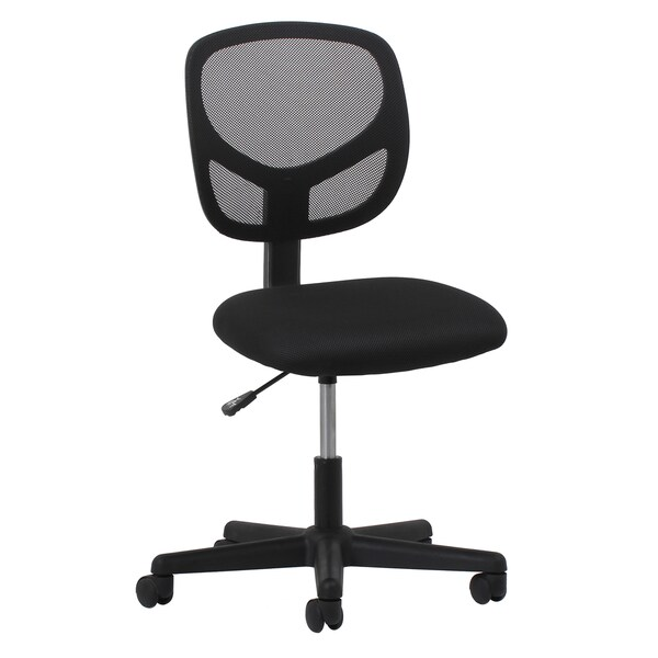 Porch & Den Dahlia Swivel Black Mesh Armless Task Chair