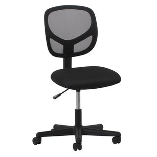 The Curated Nomad Doherty Swivel Black Mesh Armless Task Chair