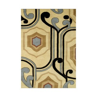 Alliyah Contemporary Ogee-shape Abstract Wool Rug (8'x10')