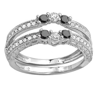 Elora 14k White Gold 5/8ct TDW Round Black and White Diamond Wedding Band Enhancer Guard (H-I, I1-I2)