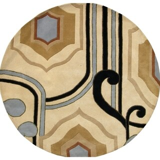 Alliyah Black/Beige Wool Contemporary Abstract Ogee Shape Round Rug (6' x 6')