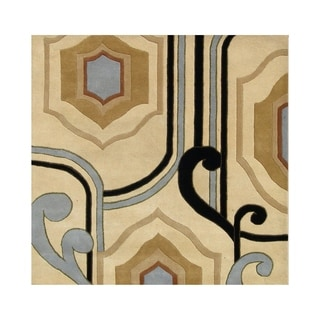 Alliyah Contemporary Abstract Ogee-shape Wool Rug (6' x 6')