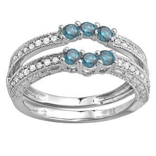 Elora 14k White Gold 5/8ct TDW Round Blue and White Diamond Anniversary Wedding Band Enhancer Guard (H-I,