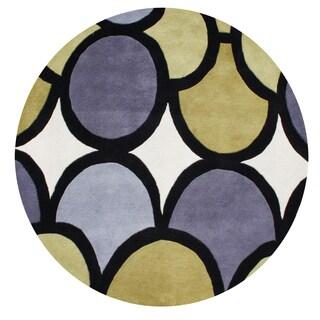 Alliyah Abstract Circles Grey/Green Organic Wool Round Floor Rug (6' x 6')
