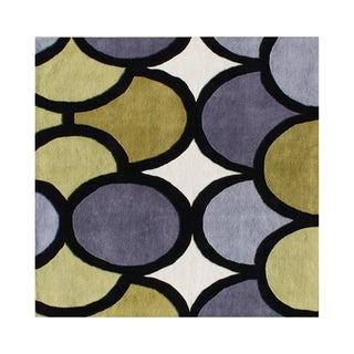 Alliyah Abstract Circles Grey/Green Organic Wool Square Floor Rug (6' x 6')