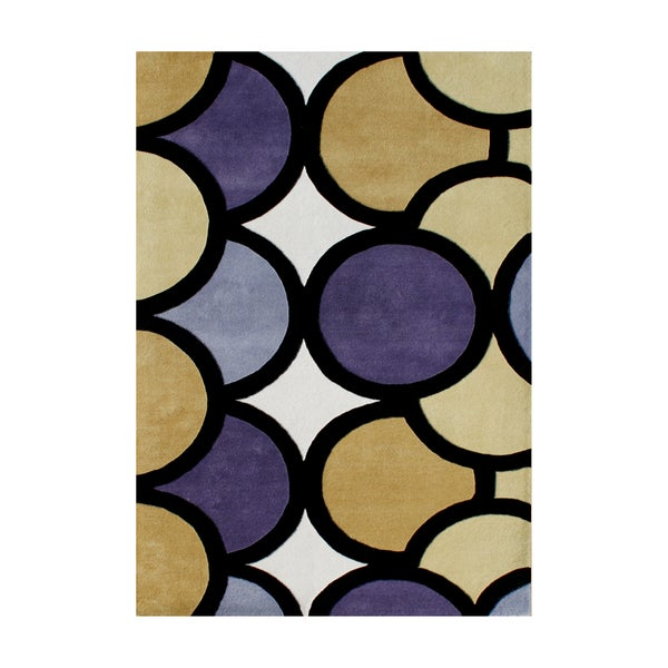 Alliyah Grey Abstract Circles Organic Wool Floor Rug (8' x 10')
