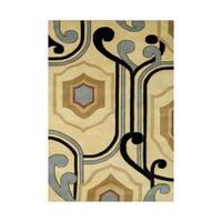 The Alliyah Cream/Black/Grey Contemporary OgeeShape Wool Handmade Rug - 5' x 8'