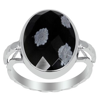 Orchid Jewelry 6.10ct Snowflake Obsidian Ring in 925 Sterling Silver