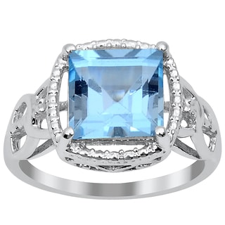 Orchid Jewelry 3.10ct Blue Topaz Sterling Silver Ring