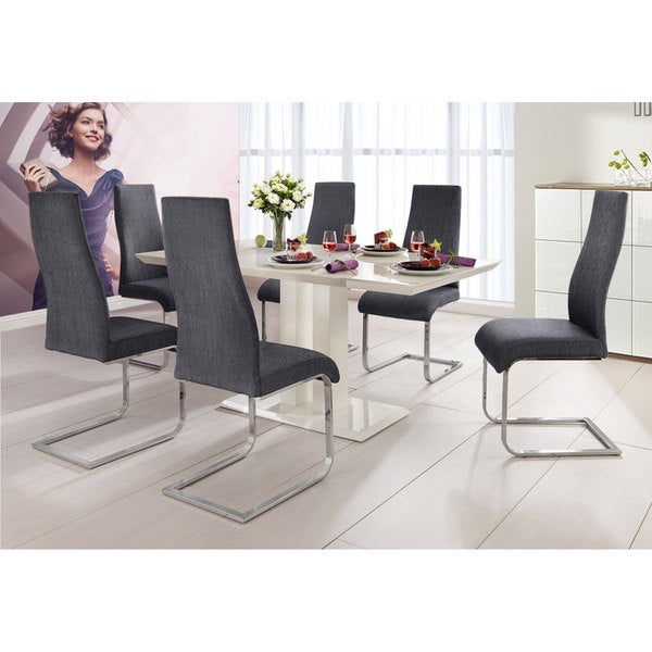 High Dining Room Table And Chairs: Shop Tito White High-gloss MDF/ Metal 5-piece Dining Table