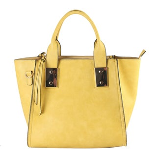 Diophy Women's Faux Leather Double Metal Frame Medium Satchel Handbag
