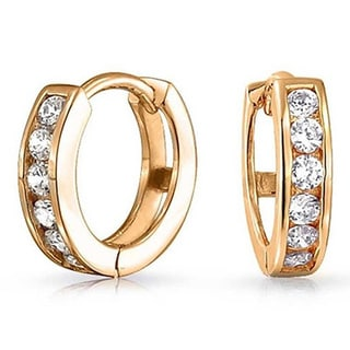 Solid 14-carat Yellow Gold with Cubic Zirconia Huggie Earrings
