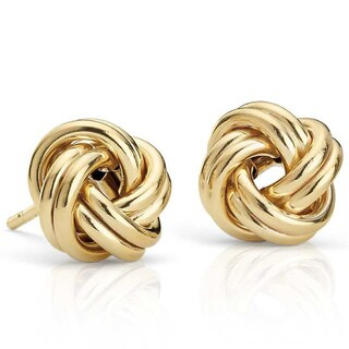 14k Solid Yellow Gold Love Knot Earrings - Black