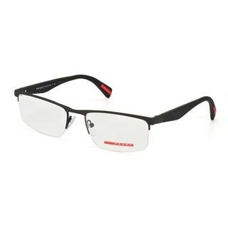 Prada Men's PS 52FV DG01O1 Linea Rossa Black Rubber Semi-rimless Eyeglasses