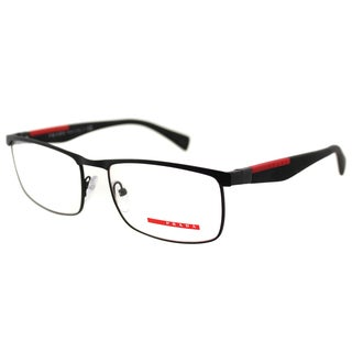Prada Men's PS 54FV DG01O1 Linea Rossa Black Rubber and Metal Rectangle Eyeglasses