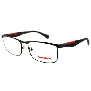 Prada Men's PS 54FV DG01O1 Linea Rossa Black Rubber and Metal Rectangle Eyeglasses