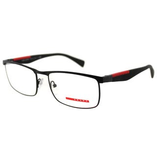 c39b0a96f1 Prada Men s PS 54FV DG01O1 Linea Rossa Black Rubber and Metal Rectangle  Eyeglasses