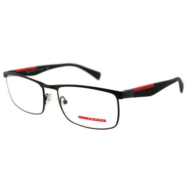 86779d47f4de Prada Men  x27 s PS 54FV DG01O1 Linea Rossa Black Rubber and Metal Rectangle