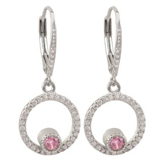 Luxiro Sterling Silver Pink Cubic Zirconia Circle Dangle Earrings