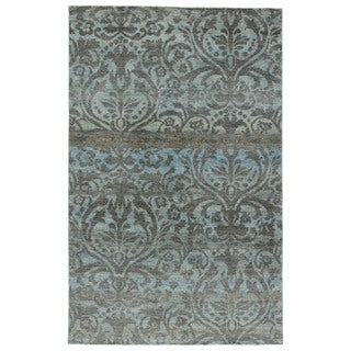 Hand-Knotted Damask Gray/ Silver Area Rug (2' X 3')